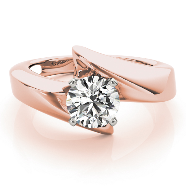 Wide Swirl Solitaire Engagement Ring in Rose Gold