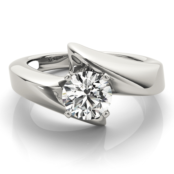 Wide Swirl Solitaire Engagement Ring