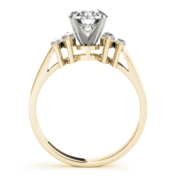 Cathedral Diamond Engagement Ring with Marquise Accent Diamonds in Yellow Gold