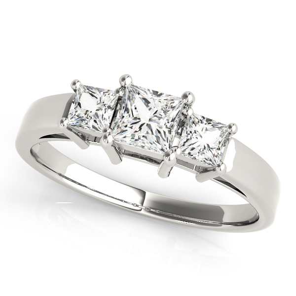 Classic Three Stone Princess Cut Diamond Engagement or Anniversary Ring