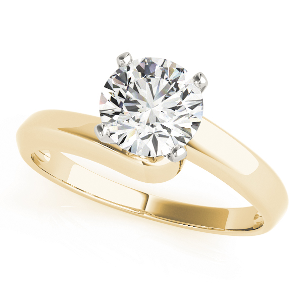 Petite Swirl Solitaire Engagement Ring in Yellow Gold