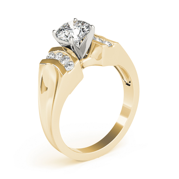 Large Concaved Tapered Band Diamond Engagement Ring