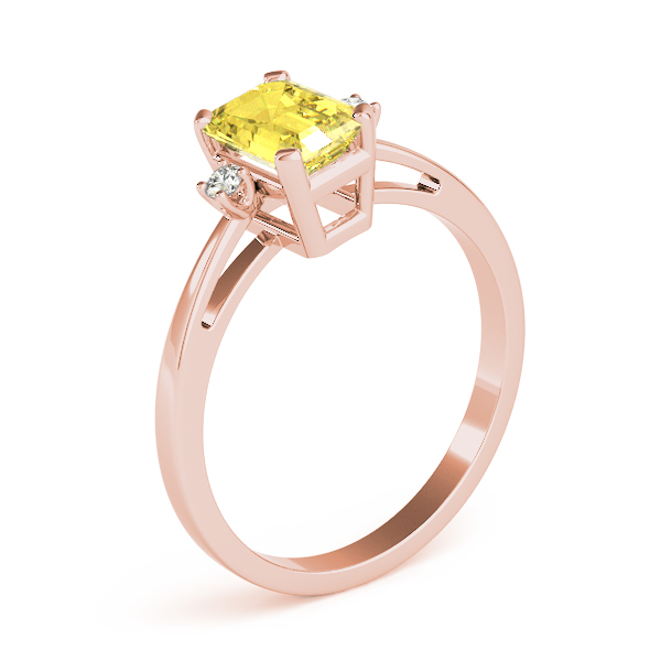 Emerald Cut Yellow Sapphire Ring Rose Gold