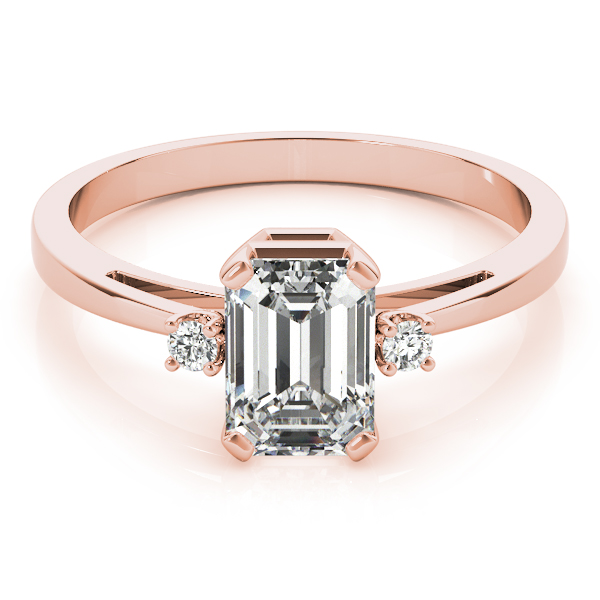 Three Stone Emerald Diamond Ring Rose Gold