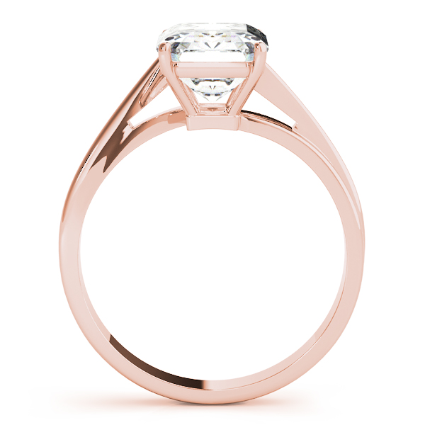 Emerald Cut Swirl Solitaire Ring Rose Gold