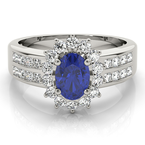 Oval Sapphire Floral Halo Ring