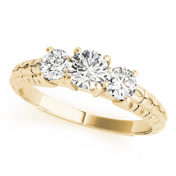 Three Stone Diamond Engagement Anniverary Ring Engraved Band in Yellow Gold
