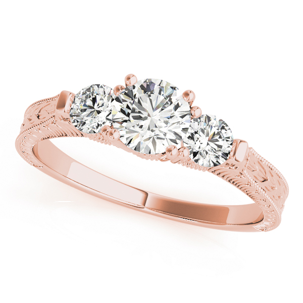 Three Stone Vintage Diamond Engagement Ring with Engraving in Rose Gold
