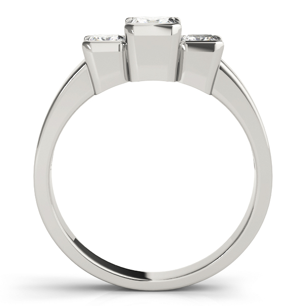 3 Stone Princess Bezel Engagement Ring