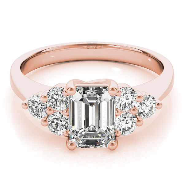Emerald Cluster Diamond Ring Rose Gold