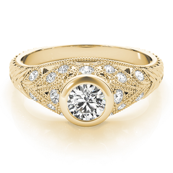 Vintage Bezel Diamond Engagement Ring, Engraved Band in Yellow Gold