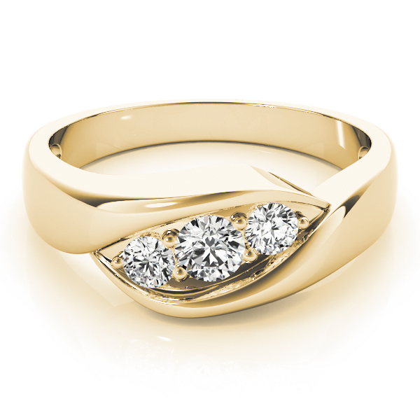 Trio Wave Diamond Wedding Ring in Yellow Gold