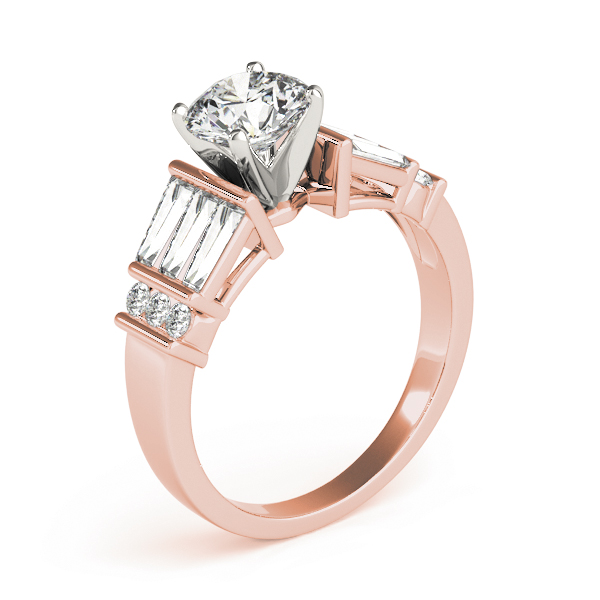 Classic Baguette & Round Diamond Engagement Ring in Rose Gold