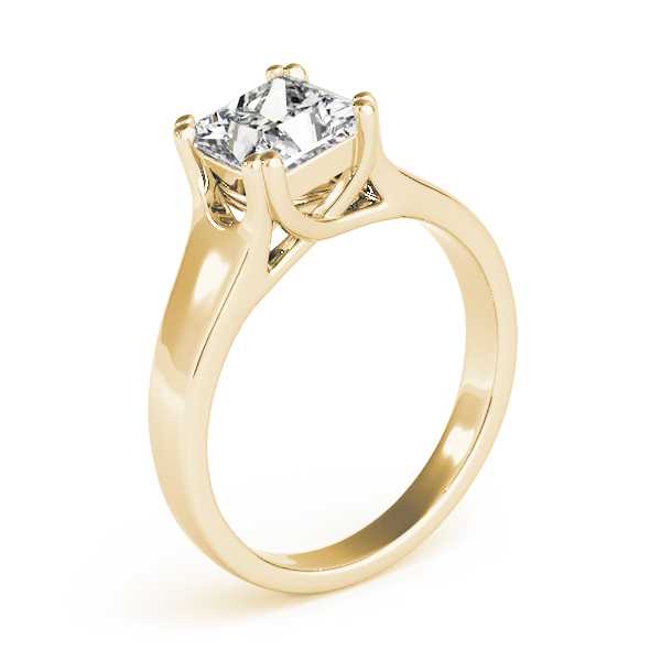Solitaire Princess Engagement Rin in Yellow Gold