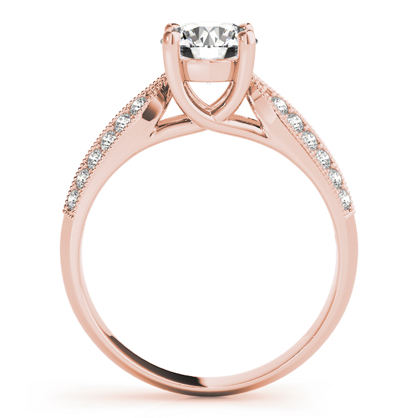 Diamond Trellis Knife-Edge Pave  Engagement Ring in Rose Gold