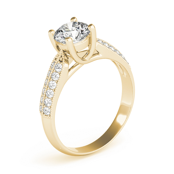 Diamond Trellis Knife-Edge Pave  Engagement Ring in Yellow Gold