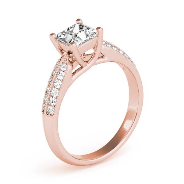 Princess Trellis Knife-Edge Pave Diamond Engagement Ring in Rose Gold