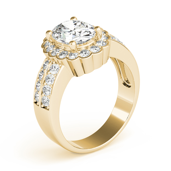 Floral Oval Halo Two Row Diamond Ring Yellow Gold