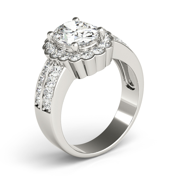 Floral Oval Halo Two Row Diamond Ring