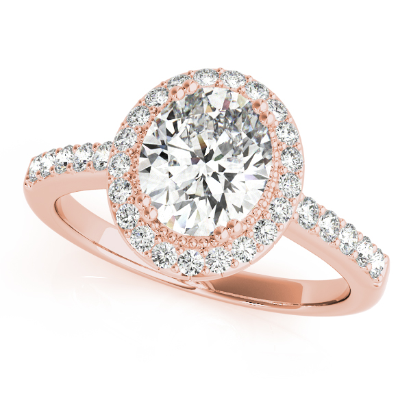 Vintage Halo Oval Diamond Ring Rose Gold