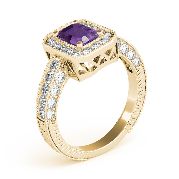 Vintage Emerald Amethyst Yellow Gold Ring