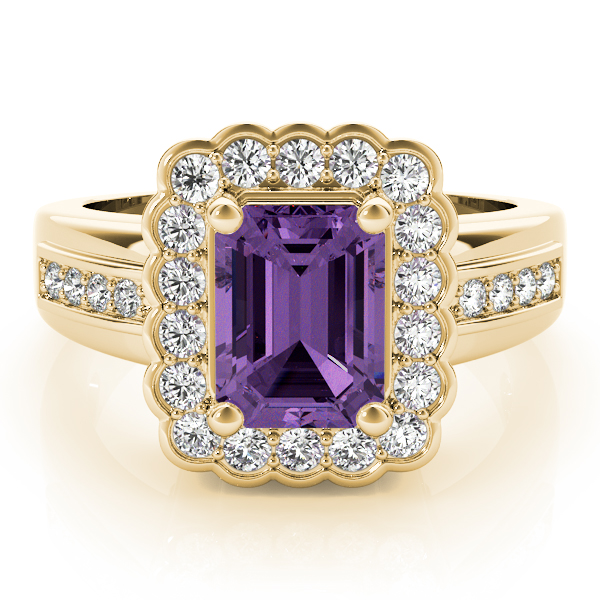 Purple Amethyst Halo Ring Yellow Gold