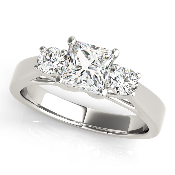 3 Stone Princess Cathedral Engagement Ring