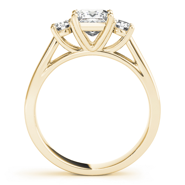 3 Stone Princess Cathedral Yellow Gold Ring