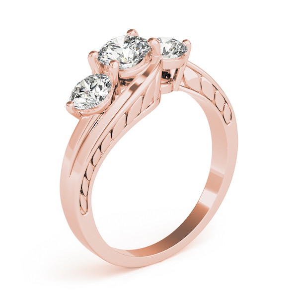 Three Stone Swirl Diamond Anniverary Ring with Engraved Band in Rose Gold