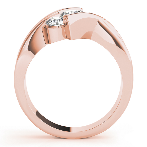 Swirl Three Stone Diagonally Set Diamond Anniversary Ring in Rose Gold