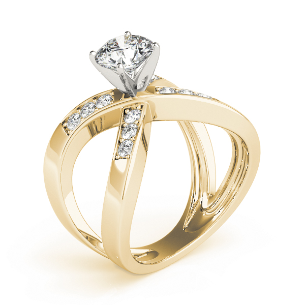 Criss Cross X Diamond Split Band Engagement Ring in Yellow Gold