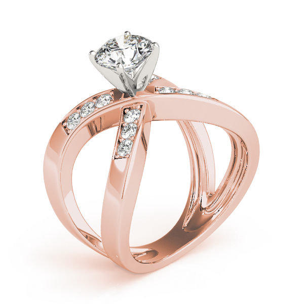 Criss Cross X Diamond Engagement Ring in Rose Gold