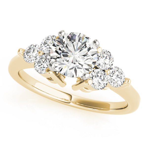 Trio Cluster Engagement Ring in Yellow Gold