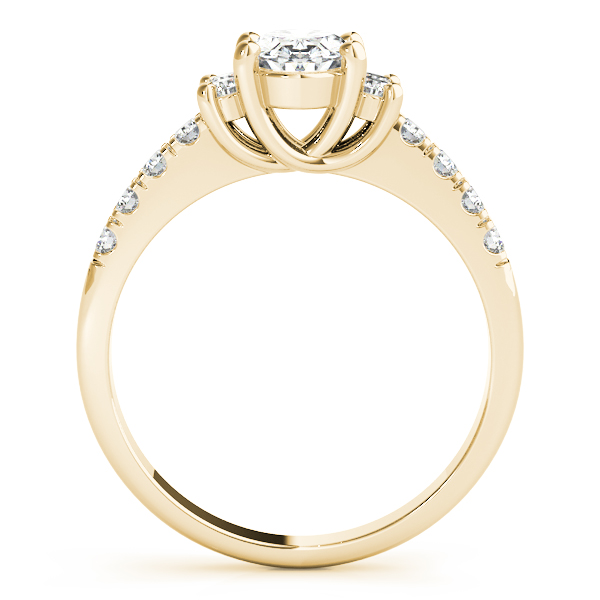 3 Stone Oval Trellis Engagement Ring Yellow Gold