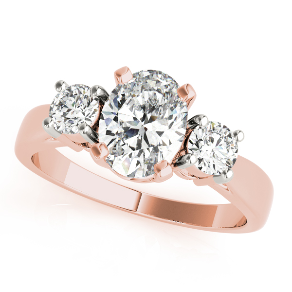 3 Stone Oval Engagement Ring Rose Gold