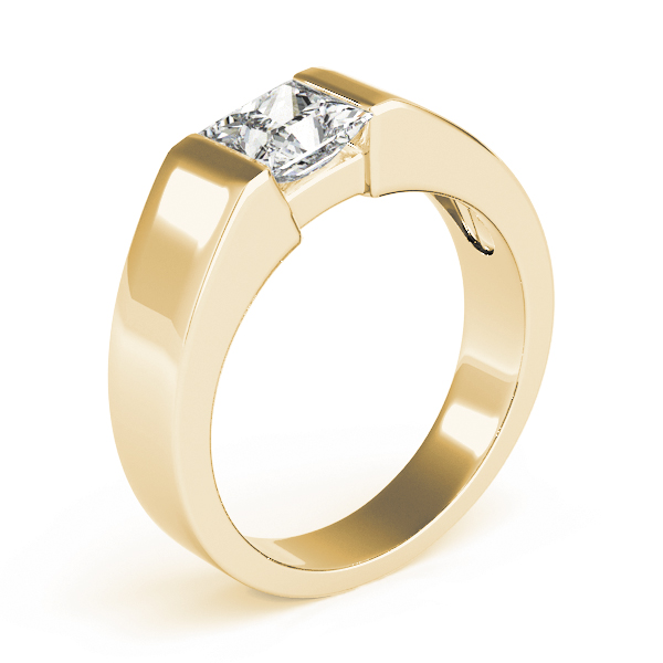 Princess Dome Semi Bezel Solitaire Engagement Ring in Yellow Gold