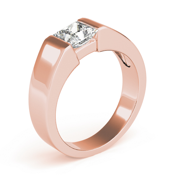 Princess Dome Semi Bezel Solitaire Engagement Ring in Rose Gold