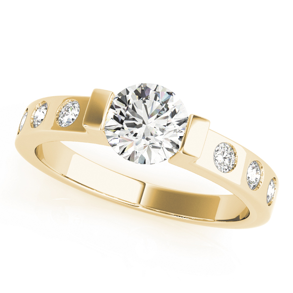 Low Profile Bezel Diamond Engagement Ring Yellow Gold