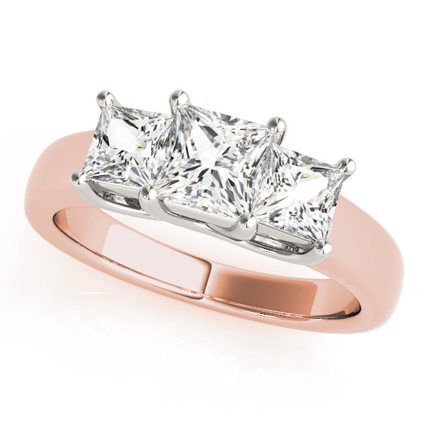 Classic Three Stone Trellis Princess Cut Diamond Ring in Rose Gold