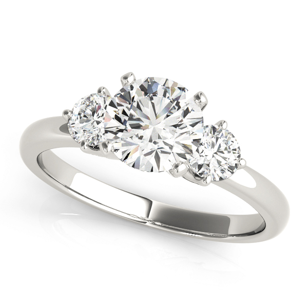 Three Stone Petite Diamond Engagement Ring