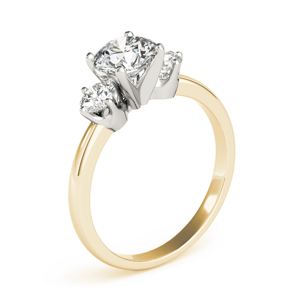 Three Stone Petite Diamond Engagement Ring in Yellow Gold