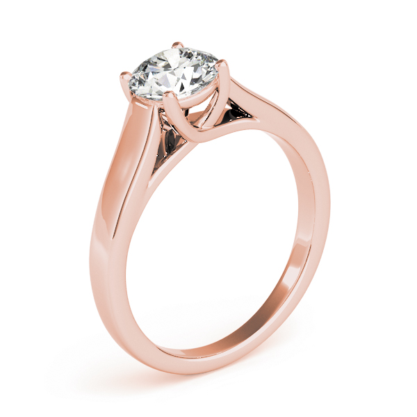 Diamond Trellis Solitaire Engagement Ring in Rose Gold