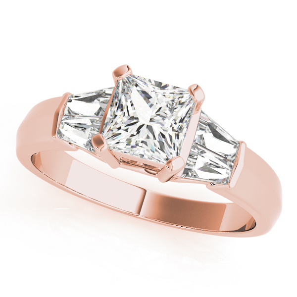 Classic Diamond Engagement Ring with Baguettes in Rose Gold