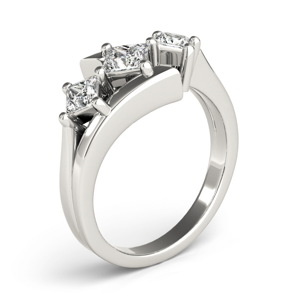 Three Stone Swirl Diamond Engagement Ring