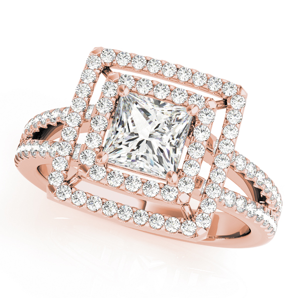 Double Halo Split Band Princess Ring Rose Gold