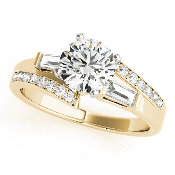 Swirl Diamond Engagement Ring with Baguette Accents in Yellow Gold