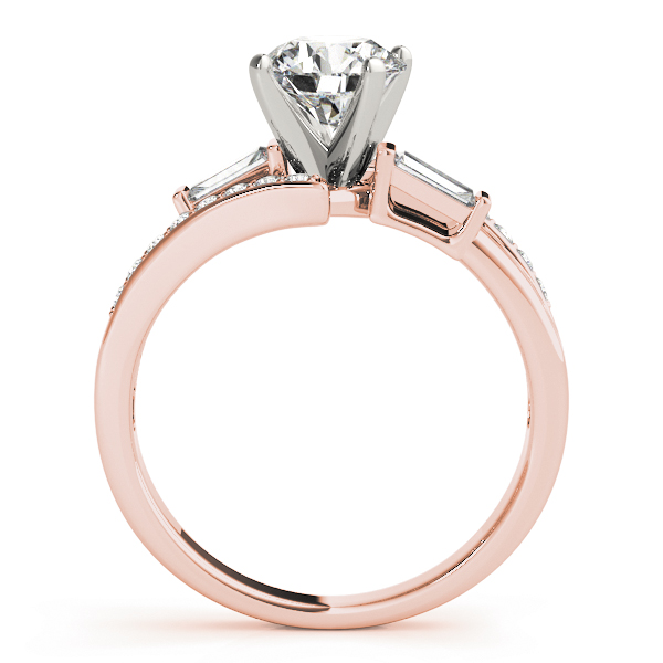 Swirl Diamond Engagement Ring with Baguette Accents in Rose Gold
