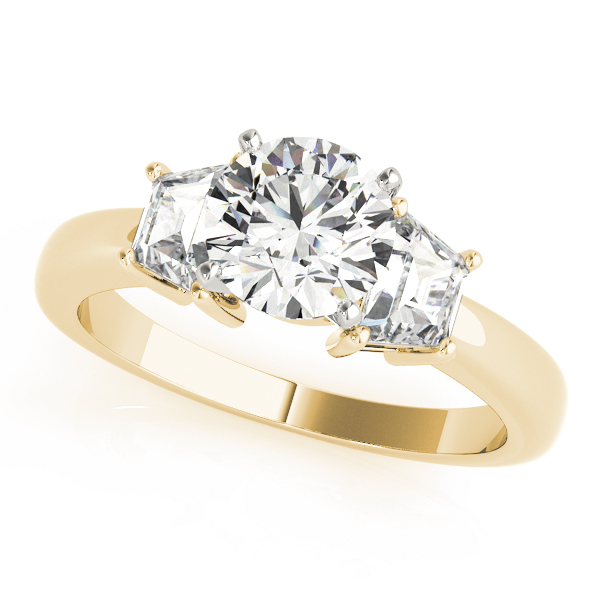 Trapezoid Diamond Engagement Ring Yellow Gold