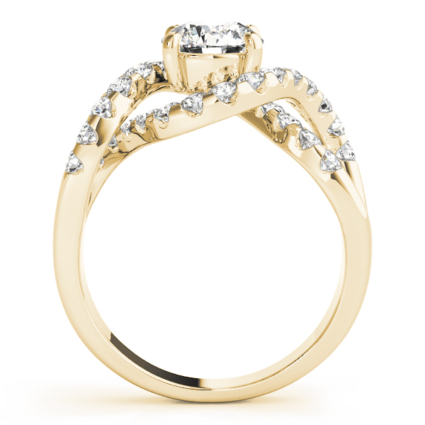 Intertwined Bridge Diamond Engagement Ring with Halo in Yellow Gold