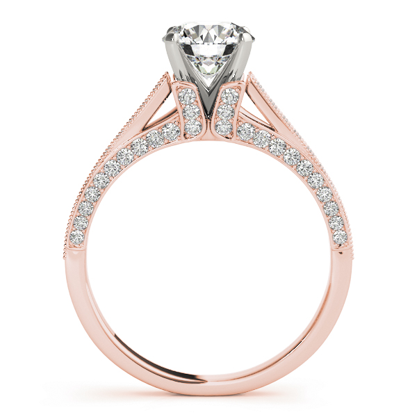 Vintage Cathedral Pave Set Diamond Bridal Set in Rose Gold
